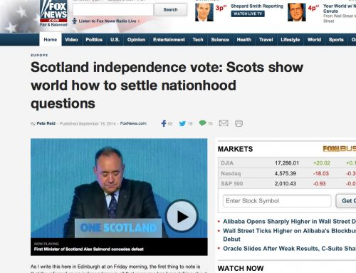 Pete Reid Writes Op-Ed for Fox News on Scottish Referendum Result